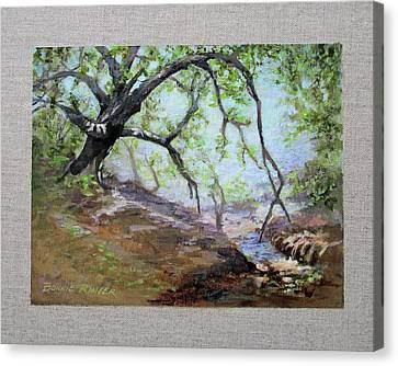 Canvas Print featuring the painting By The Creek by Bonnie Rinier