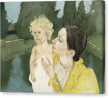 Caring Mother Canvas Print - By The Pond by Mary Stevenson Cassatt