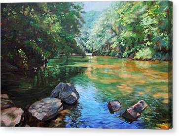 By The River Canvas Print by Bonnie Mason
