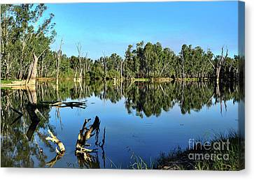 By The River Canvas Print by Kaye Menner