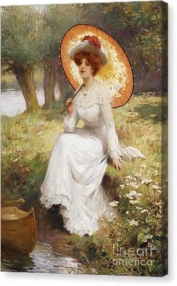 Silk On Canvas Print - By The River by Percy William Gibbs