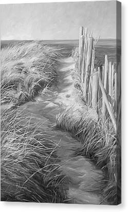 Cape Cod Canvas Print - By The Sea - Black And White by Lucie Bilodeau