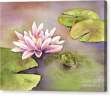 Frog Watercolor Canvas Print - By The Waterlily by Amy Kirkpatrick