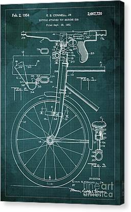 Bycicle Attached Toy Machine Gun Patent Blueprint, Year 1951 Green Vintage Art Canvas Print by Pablo Franchi
