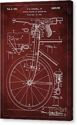 Bycicle Attached Toy Machine Gun Patent Blueprint, Year 1951 Red Vintage Art Canvas Print by Pablo Franchi
