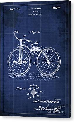 Bycicle Patent Blueprint Year 1930 Blue Vintage Poster Canvas Print by Pablo Franchi