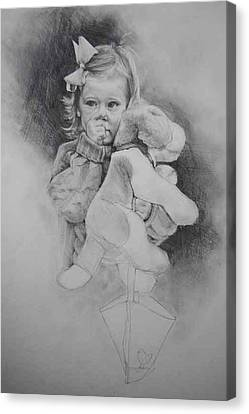 Canvas Print featuring the drawing Bye-bye Bag by Jani Freimann