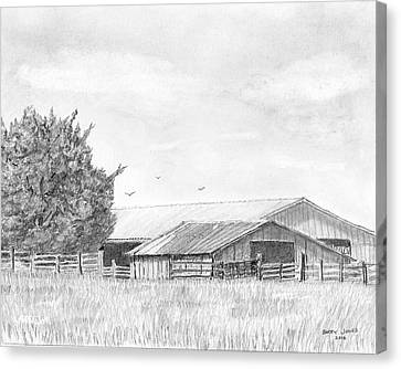 Byhalia Road Farm - Drawing Canvas Print by Barry Jones