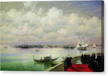 St Lazarus Canvas Print - Byron Visiting Mhitarists On Island Of St Lazarus In Venice 1899 by Aivazovsky Ivan