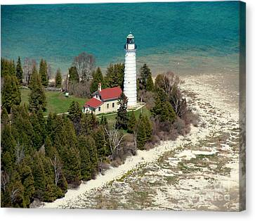 Canvas Print featuring the photograph C-018 Cana Island Lighthouse by Bill Lang