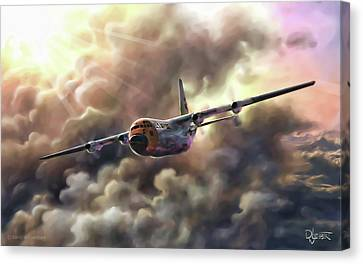Canvas Print featuring the painting C-130 Hercules by Dave Luebbert