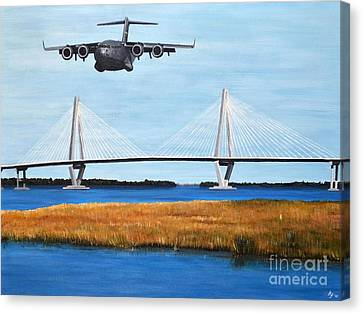 C-17 And Ravenel Bridge Canvas Print
