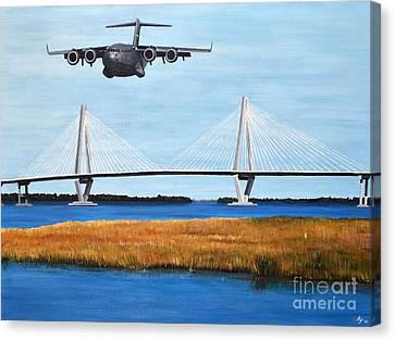 C-17 And Ravenel Bridge Canvas Print
