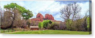 Canvas Print featuring the photograph Cabin At Cathedral Rock Panorama by James Eddy