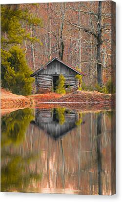 Cabin By The Lake Vertical Canvas Print by Shelby  Young