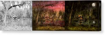 Cabin - De Land Fl - Restless Night - Summer Cottage 1904 - Side By Side Canvas Print by Mike Savad