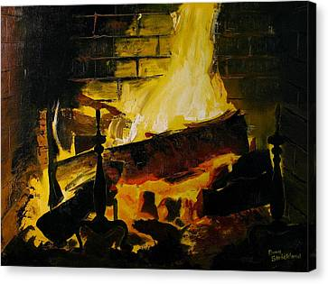 Cabin Fireplace Canvas Print by Doug Strickland