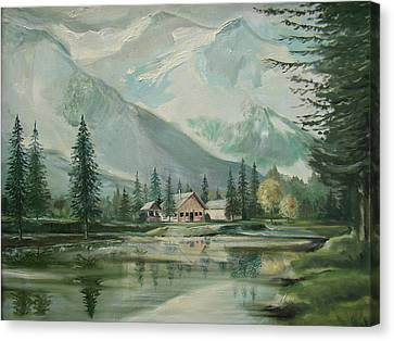 Cabin In The Valley Canvas Print by Charles Roy Smith