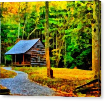 Cabin In The Woods Canvas Print by Dan Sproul
