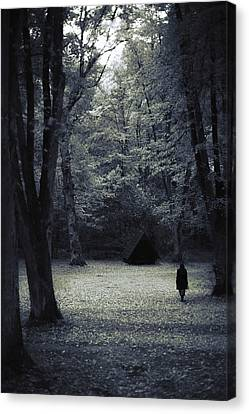 Creepy Canvas Print - Cabin In The Woods by Art of Invi