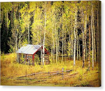 Canvas Print featuring the photograph Cabin In The Golden Woods by Karen Shackles