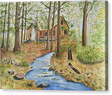 Log Cabins Canvas Print - Cabin In The Woods by Linda Brody