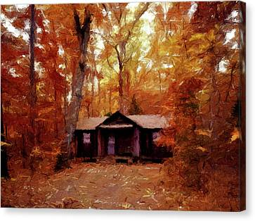 Canvas Print featuring the painting Cabin In The Woods P D P by David Dehner