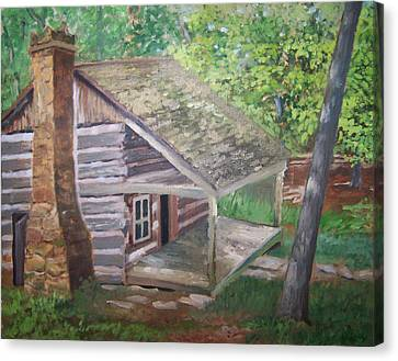 Cabin In The Woods Canvas Print by Ron Bowles