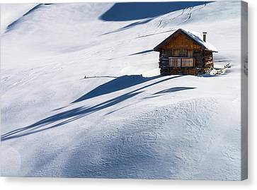 Cabin In Winter Canvas Print by Carlo Trolese