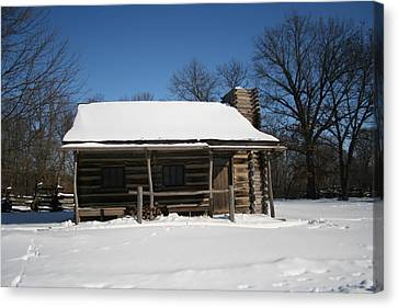Cabin In Winter Canvas Print by Gregory Jeffries