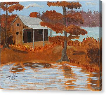 Cabin On Lake Canvas Print by Swabby Soileau
