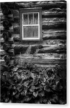 Cabin Window In Black And White Canvas Print by Greg and Chrystal Mimbs