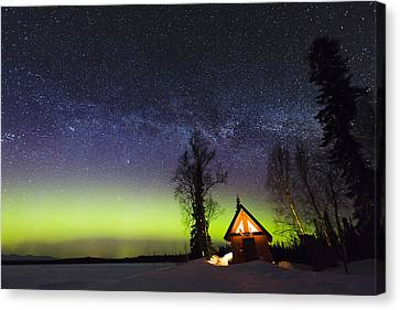 Cabins Glow Canvas Print by Ed Boudreau