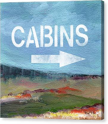 Cabins- Landscape Painting By Linda Woods Canvas Print by Linda Woods