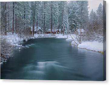 Canvas Print featuring the photograph Cabins On The Metolius by Cat Connor