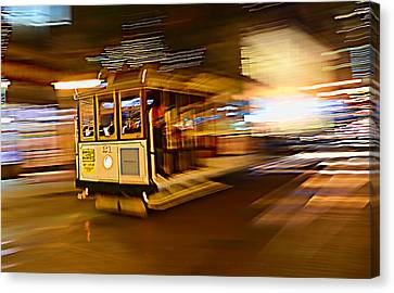 Canvas Print featuring the photograph Cable Car At Light Speed by Steve Siri