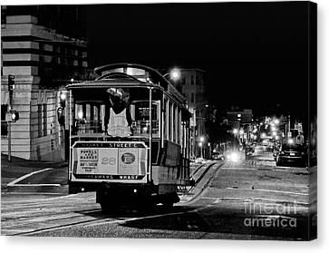 Cable Car At Night - San Francisco Canvas Print