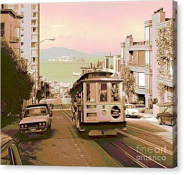 Cable Car On Hyde Street Hill San Francisco Canvas Print by Padre Art