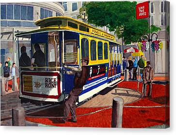 Cable Car Turntable At Powell And Market Sts. Canvas Print by Mike Robles