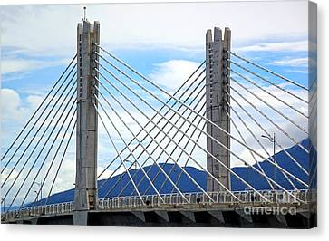 Canvas Print featuring the photograph Cable Stayed Bridge With Two Pylons by Yali Shi