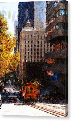 Cablecar On San Francisco California Street  . Painterly . 7d7176 Canvas Print by Wingsdomain Art and Photography