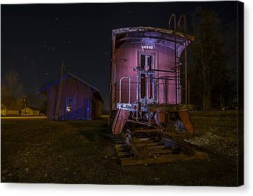 Caboose And Depot In Rural Illinois One Starry Night Canvas Print by Sven Brogren