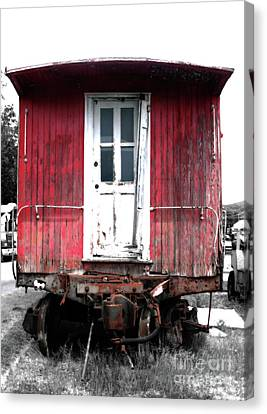 Caboose In Barn Red  Canvas Print by Steven Digman