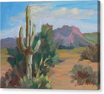 Canvas Print featuring the painting Cactus By The Red Mountains by Diane McClary