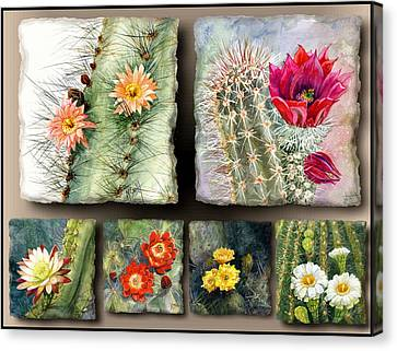 Claret Canvas Print - Cactus Collage 10 by Marilyn Smith