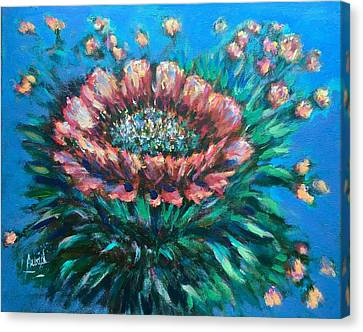 Canvas Print featuring the painting Cactus Flowers by Laila Awad Jamaleldin
