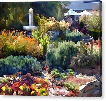 Cactus Garden And Fountain Canvas Print by Elaine Plesser