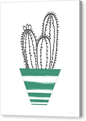 Cactus In A Green Pot- Art By Linda Woods Canvas Print by Linda Woods