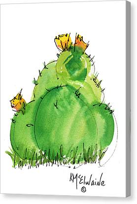 Cactus In The Yellow Flower Watercolor Painting By Kmcelwaine Canvas Print