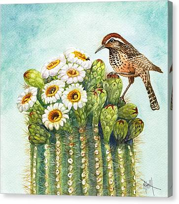 Cactus Watercolor Canvas Print - Cactus Wren And Saguaro by Marilyn Smith